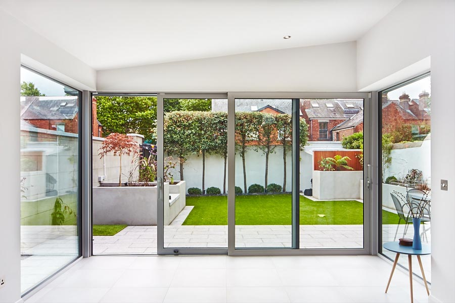 Grey patio doors