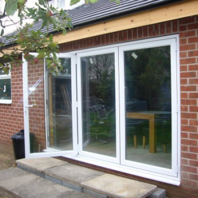 White bifold door