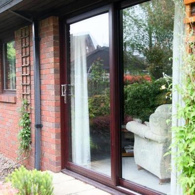 Rosewood patio doors