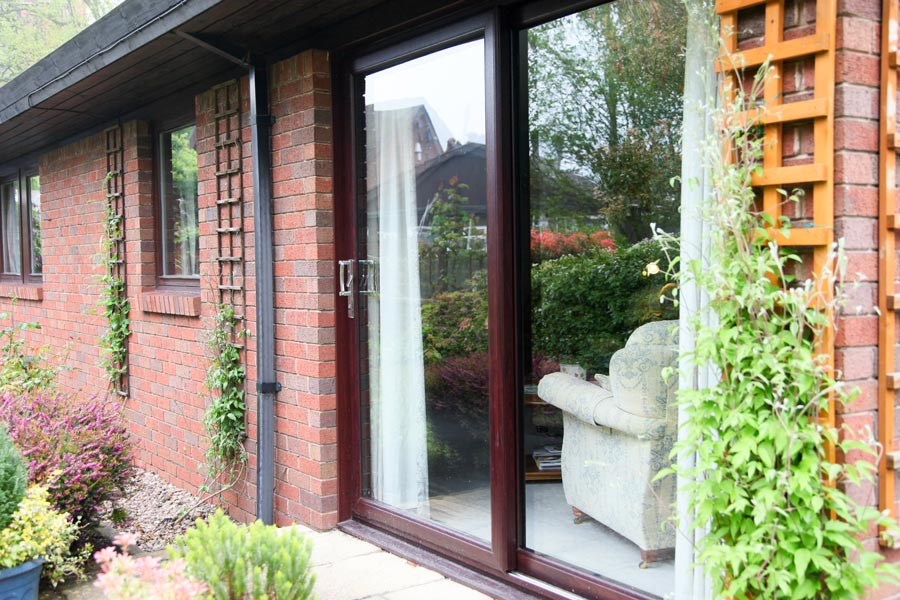 Rosewood patio doors